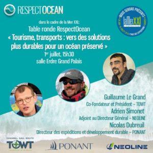 """Table ronde RespectOcean """"tourisme, transports : vers des solutions plus durables pour un océan préservé"""" avec NEOLINE"""